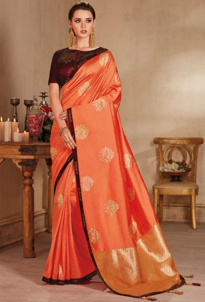 Peach color silk Indian wedding saree 927