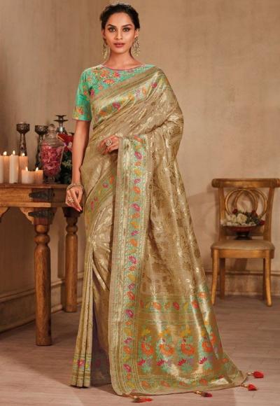 Beige color silk Indian wedding saree 928