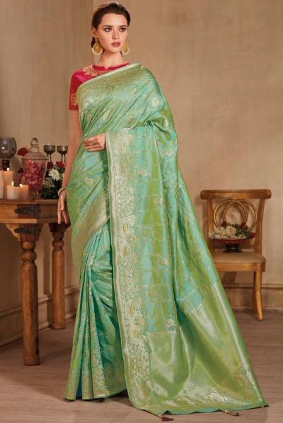 Pastel color silk Indian wedding saree 931