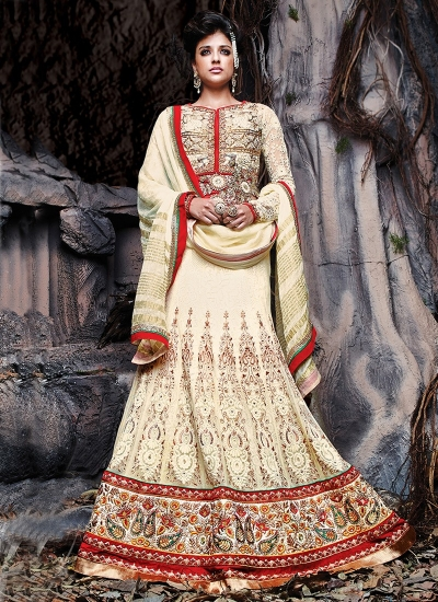 Versatile Cream Color Net Designer Lehenga Choli
