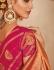 Salmon color silk Indian wedding saree 932