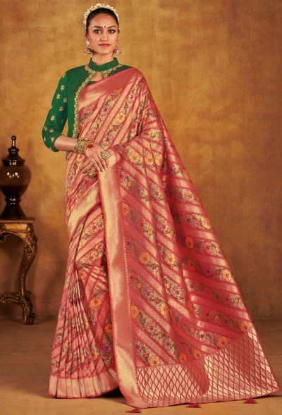 Onion pink color silk Indian wedding saree 938
