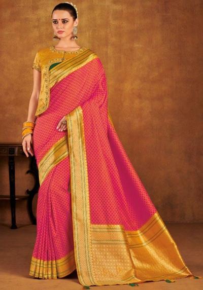 Pink color silk Indian wedding saree 939