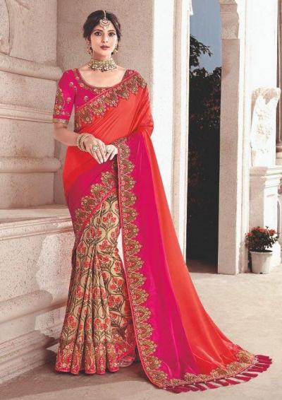 Cream pink fancy silk Indian wedding saree 2307