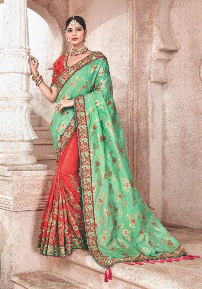 Green orange fancy silk Indian wedding saree 2308