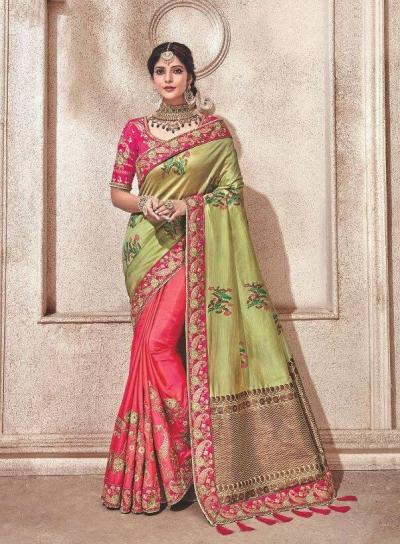 Green pink fancy silk Indian wedding saree 2309