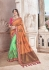 Green peach fancy silk Indian wedding saree 2310