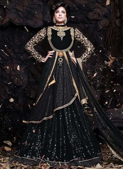 Conspicuous Stones Work Black Color Designer Lehenga Choli