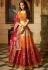 Offwhite Orange red silk Indian wedding Lehenga choli 13197
