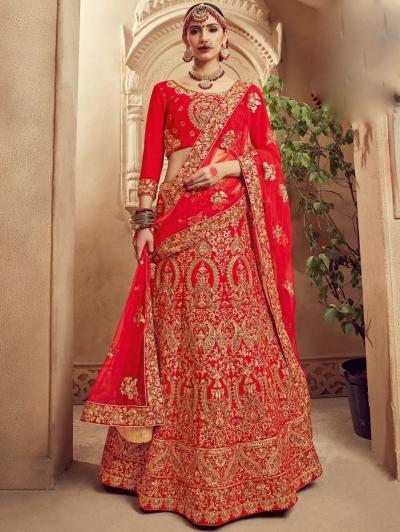 Red color Traditional Indian heavy designer wedding lehenga choli 10002