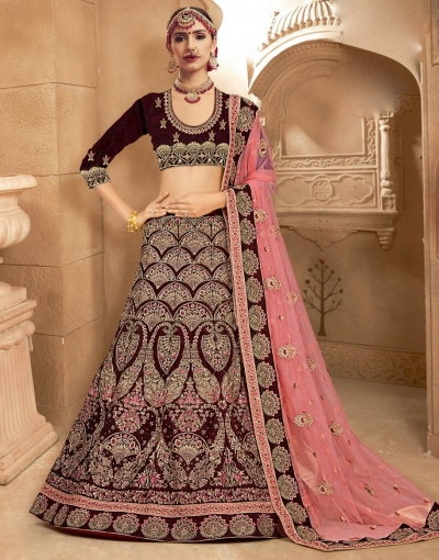 Wine color Traditional Indian heavy designer wedding lehenga choli 10008