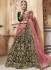 Dark green velvet embroidered heavy designer Indian wedding lehenga choli 4701