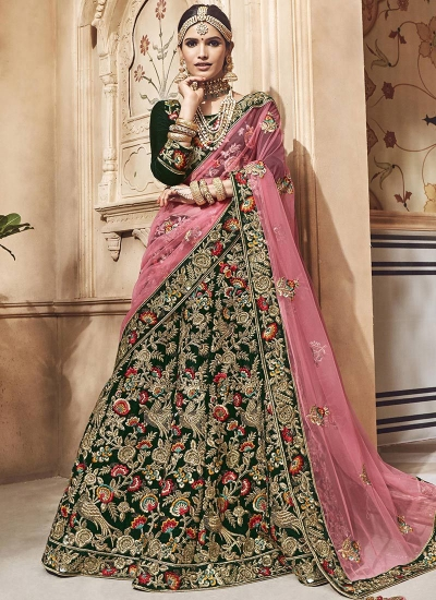 b4597dbc135c Dark-green-velvet-embroidered-heavy-designer-Indian-wedding-lehenga-choli -4701.jpg