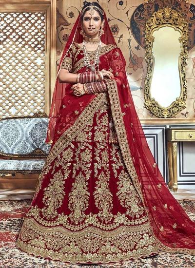 Maroon velvet embroidered heavy designer Indian wedding lehenga choli 4704