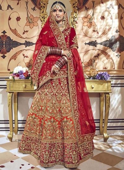 Orange red shaded velvet embroidered heavy designer Indian wedding lehenga choli 4706