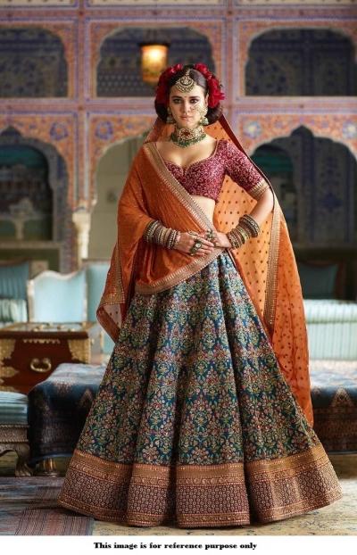 Bollywood Sabyasachi Inspired blue orange and red silk lehenga