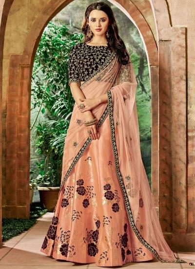 Indian wedding peach and maroon silk wedding lehenga 7704