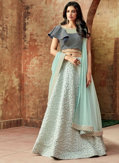Indian wedding Skyblue and blue silk wedding lehenga 7706