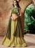Indian wedding yellow and olivegreen silk wedding lehenga 7708
