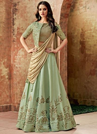 Indian wedding pastel green silk wedding lehenga 7710