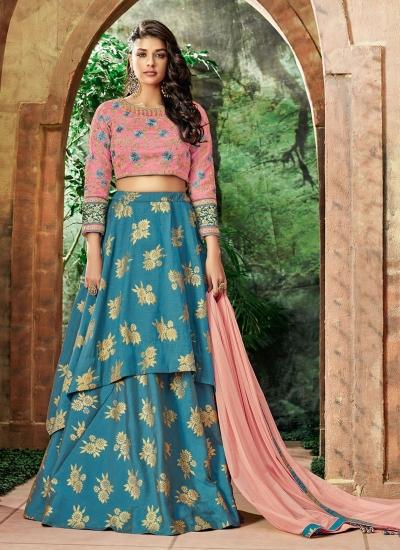 Indian wedding blue and pink silk wedding lehenga 7713