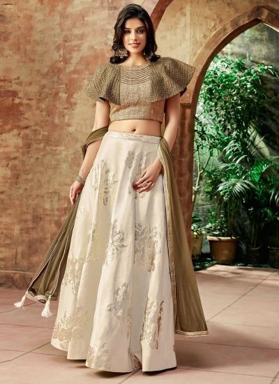 Indian wedding cream and beige silk wedding lehenga 7714