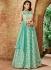 Indian wedding seagreen and offwhite tissue wedding lehenga 7715
