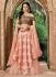 Indian wedding peach and brown silk wedding lehenga 7716
