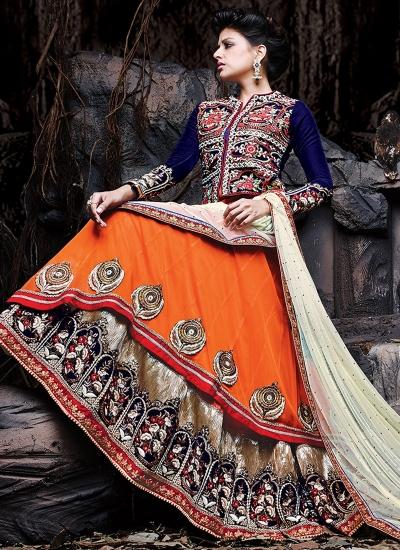 Blooming Floral Work Double Layered Jacket Style Designer Lehenga Choli