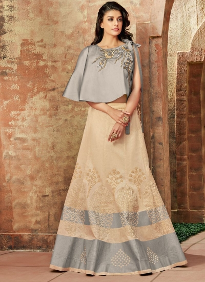 Indian wedding cream and grey silk wedding lehenga 7717