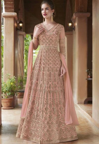 Blush pink net Indian wedding wear anarkali suit 4500