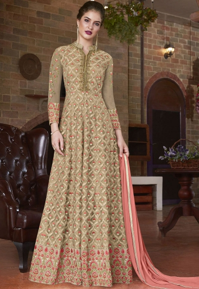 Beige pink net Indian wedding wear anarkali suit 4501