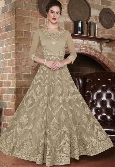 Beige net Indian wedding wear anarkali suit 4503