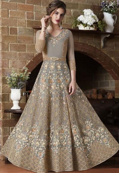 Dusty net Indian wedding wear anarkali suit 4505