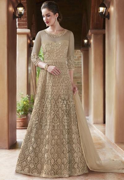 Beige net Indian wedding wear anarkali suit 4506