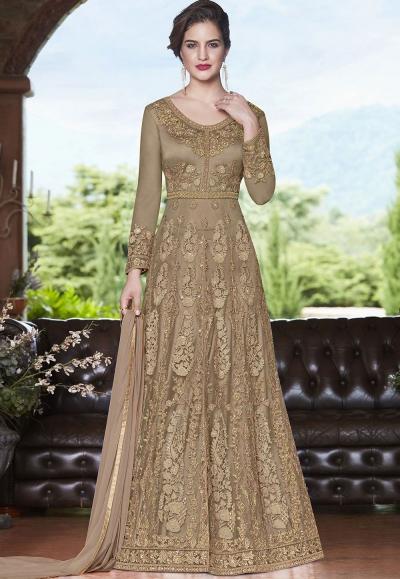 Beige net Indian wedding wear anarkali suit 4508