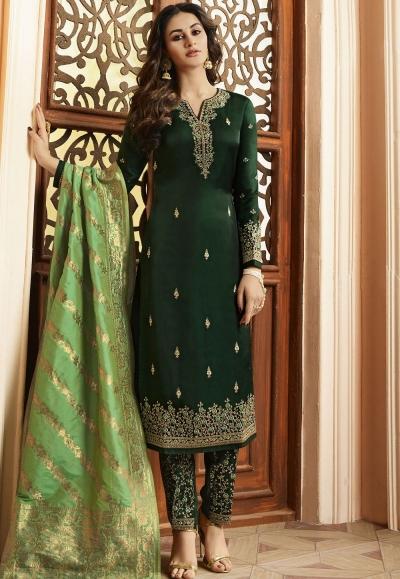 Indian silk Wedding salwar kameez in green color 15202