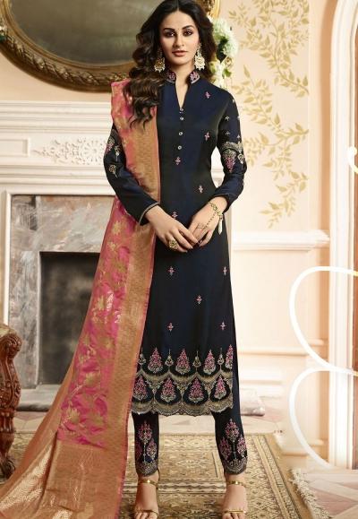 Indian silk Wedding salwar kameez in blue color 15203