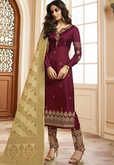 Indian silk Wedding salwar kameez in wine color 15204