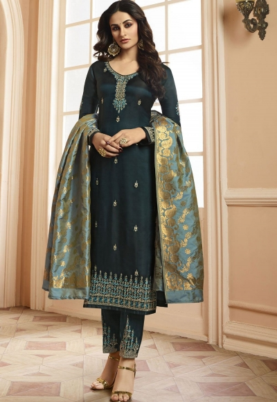 Indian silk Wedding salwar kameez in grey color 15205