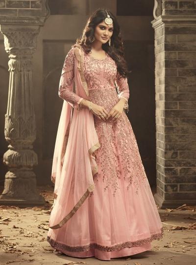 Blush pink Indian hand work net wedding wear anarkali suit 56003