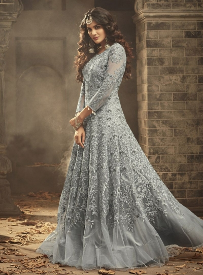 Grey Indian hand work net wedding wear anarkali suit 56005