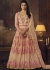 Peach color net wedding wear anarkali suit