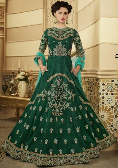 Emerald green silk Indian wedding anarkali