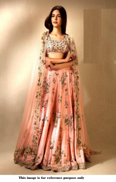 Bollywood model peach color mulberry silk wedding lehenga choli