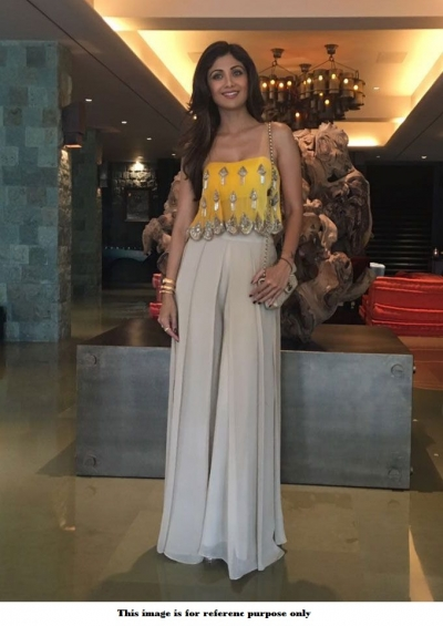 Bollywood Shilpa Shetty Readymade Yellow crop top with palazzo