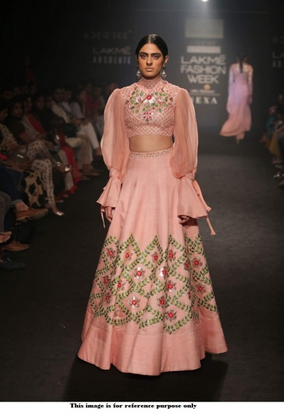Bollywood Divya Reddy Inspired Peach Lakme fashion lehenga
