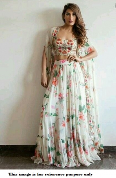 Bollywood Model Indo western Koti style Georgette lehenga