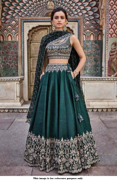 Bollywood Anita Dongre Inspired Emerald green silk lehenga
