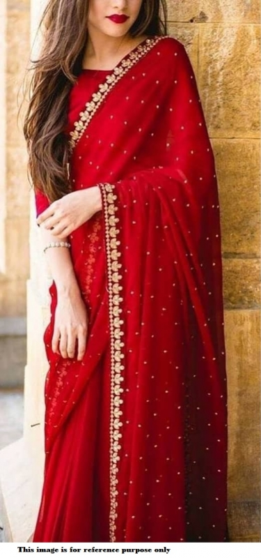 Bollywood red color georgette moti saree